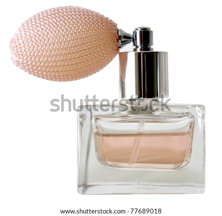 Isolated bottle of perfume on the white - stock photo