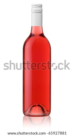 Isolated bottle of red rose wine - stock photo