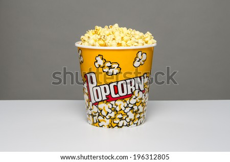Isolated bowl of popcorn - stock photo