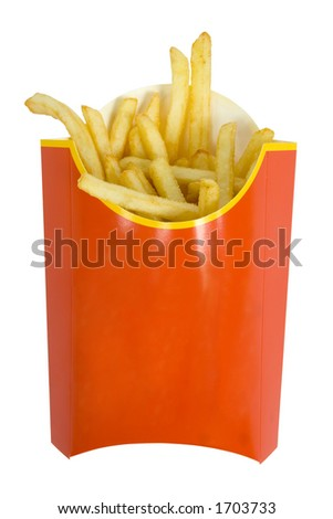 isolated box of  French fries - stock photo