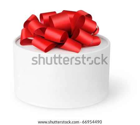 Isolated box. White gift box with red ribbon isolated on white background