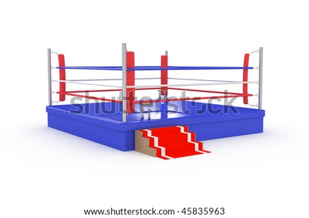 isolated boxing ring-3d illustration - stock photo