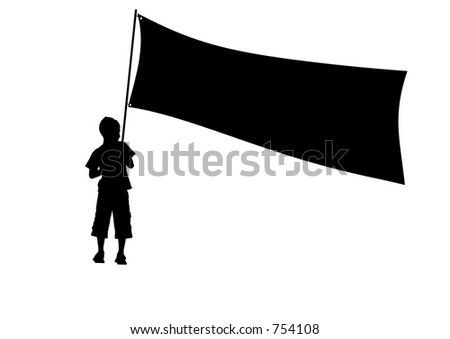 isolated boy and banner silhouette