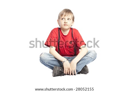 isolated boy thinking over white background