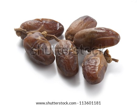 Isolated branch of dates on the white background