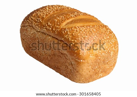 isolated bread with sesame seeds - stock photo