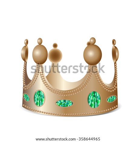 Isolated bronze crown with gems in photo realistic style