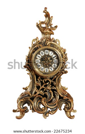 isolated bronze old-fashioned clock with clipping path. Series 22178551, 22823665 - stock photo