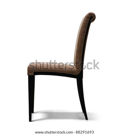 isolated brown armchair on a white background - stock photo