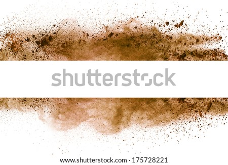 Isolated brown make-up powder in stripe shape on white background - stock photo