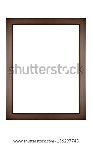 Isolated brown picture frame - stock photo