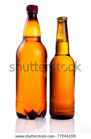Isolated Brown plastic bottle and glass bottle of beer on a white background - stock photo