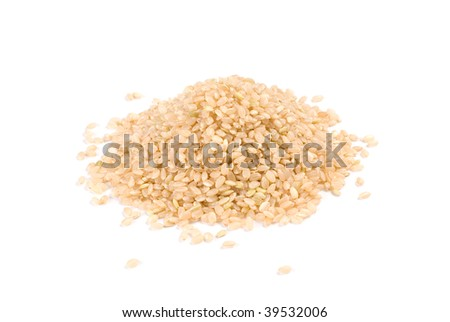 Isolated brown rice , main food of Japanese and chinese - stock photo