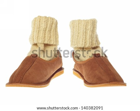 isolated brown wool comfortable slippers - stock photo