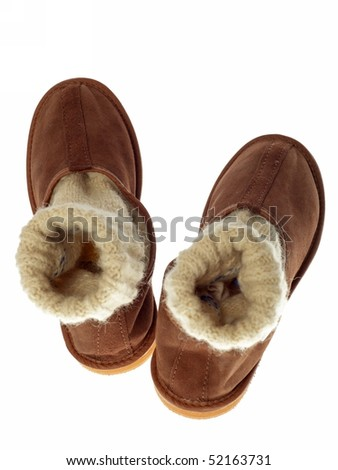 isolated brown wool comfortable slippers