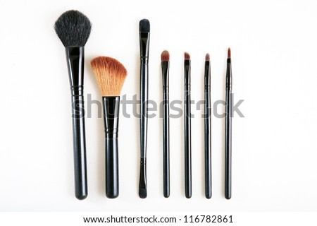 Isolated brush set makeup - stock photo
