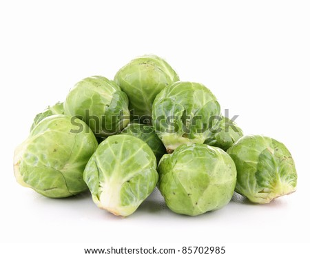 isolated brussels sprouts on white background - stock photo