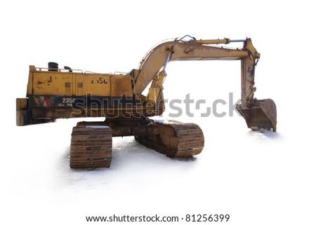 Isolated bulldozer on snow. - stock photo