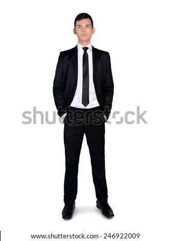 Isolated busines man looking to camera - stock photo