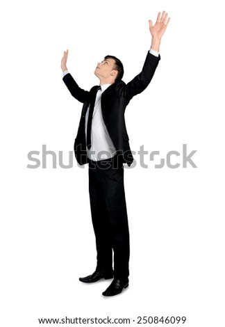 Isolated business man arms up - stock photo