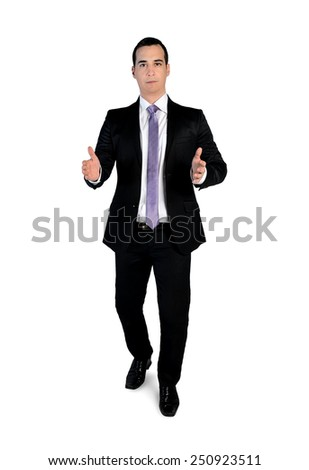 Isolated business man carry something - stock photo