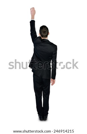 Isolated business man climb something - stock photo