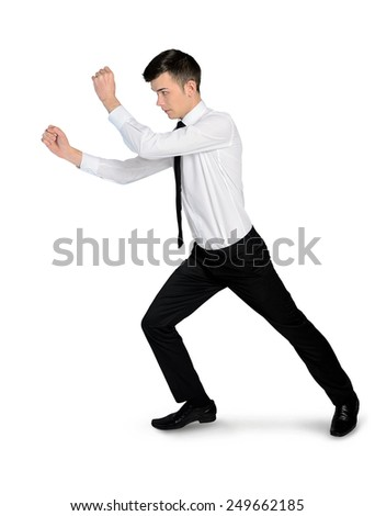 Isolated business man drag soemthing - stock photo
