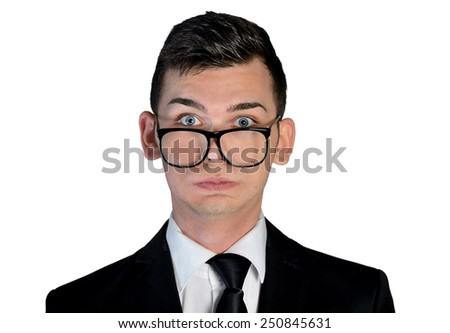 Isolated business man exhausted looking camera - stock photo