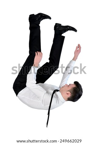 Isolated business man fall down - stock photo