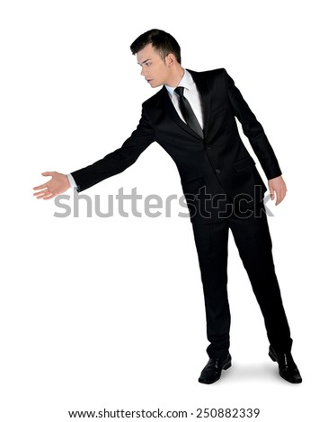 Isolated business man give hand - stock photo