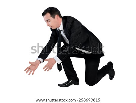 Isolated business man grab something - stock photo