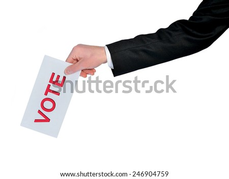 Isolated business man hand vote - stock photo