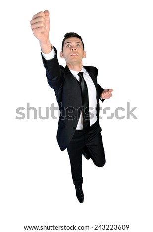 Isolated business man hero fly concept - stock photo