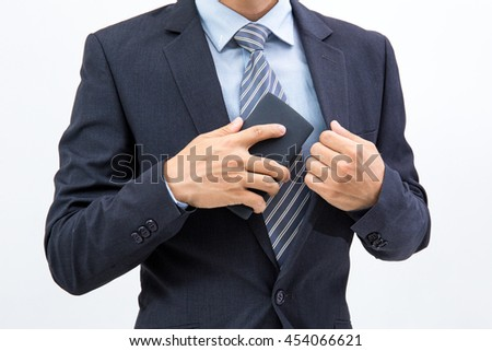 isolated business man hold the smartphone on white background
