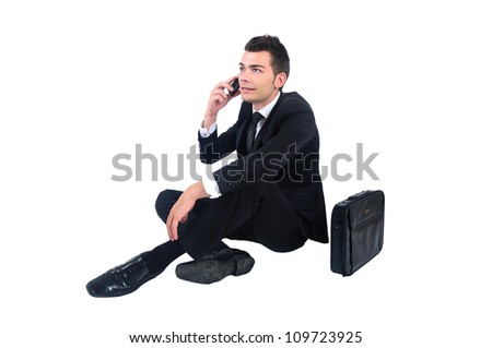 Isolated business man on phone