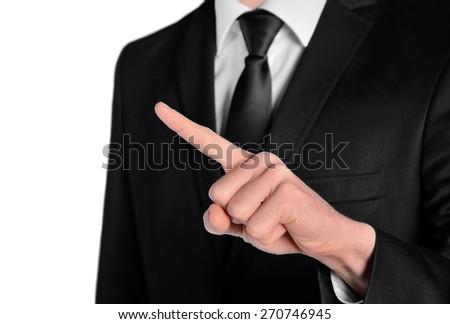 Isolated business man point something - stock photo