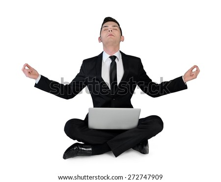 Isolated business man pray with laptop
