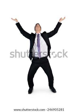 Isolated business man push up something - stock photo