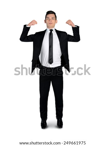Isolated business man showing muscle