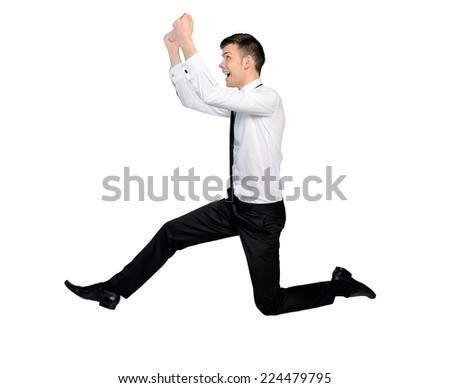 Isolated business man side jump