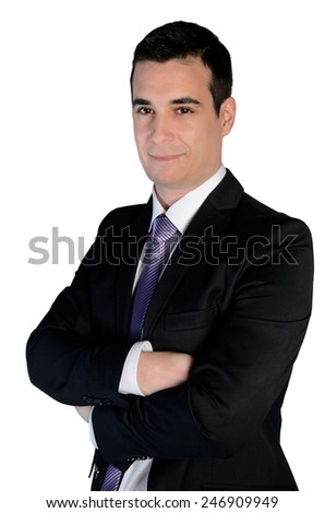 Isolated business man smile portrait - stock photo