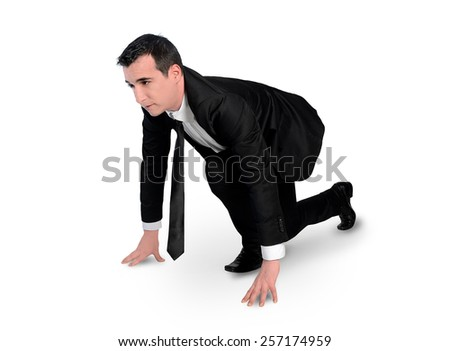 Isolated business man start run - stock photo