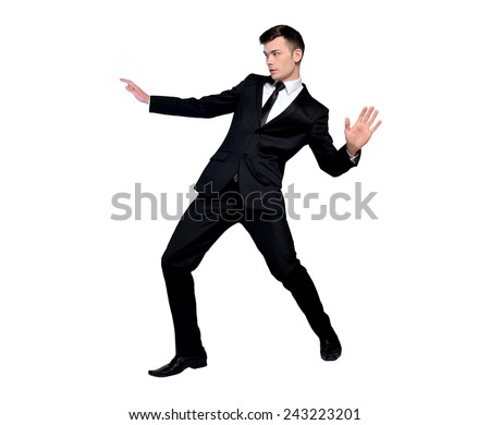 Isolated business man surfing position - stock photo