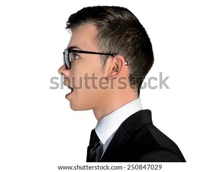 Isolated business man talk something - stock photo