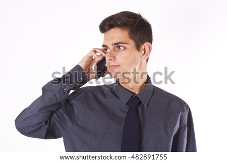 isolated business man talking on mobile phone