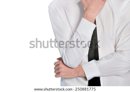 Isolated business man thinking position closeup - stock photo