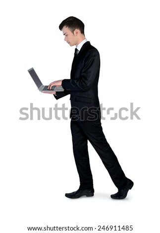 Isolated business man use laptop - stock photo