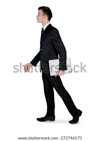 Isolated business man walk side - stock photo
