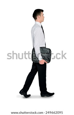 Isolated business man walking side - stock photo