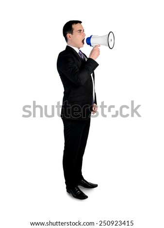 Isolated business man with loudspeaker - stock photo